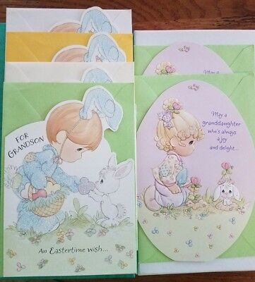 6 NEW 8x5 Hallmark PRECIOUS MOMENTS Easter Cards Puzzles GRANDSON GRANDDAUGHTER