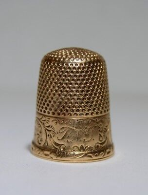 Solid 14K Yellow Gold Vintage Inspired Etched Floral Filigree Thimble MONO