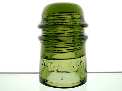 AWESOME YELLOW OLIVE CD 121 A.T. & T. Co. Toll Insulator