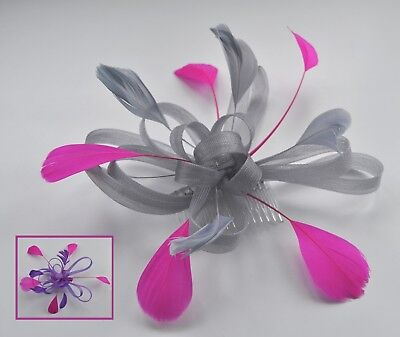 Purple/dark lilac & hot fuchsia pink feather wedding/races fascinator hair comb