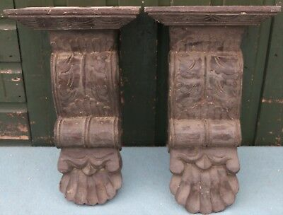 Pair Of Large Very Dirty Wooden Carved Wall Brackets