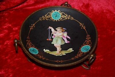 Antique French Old Paris Porcelain & Bronze Decorative Plate