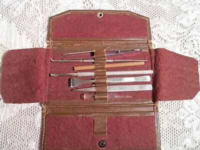 Vintage Traveling Doctors Kit Fold Over Pouch 7 Instruments