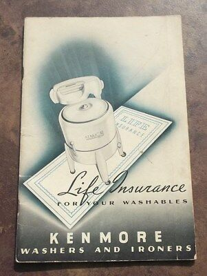 Vtg 1939 Life Insurance for Your Washables Kenmore Washers and Ironers Guide