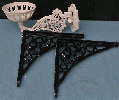 Pair Of Fancy Looking Cast Iron Wall Brackets & Iron Wall Bracket With Bowl