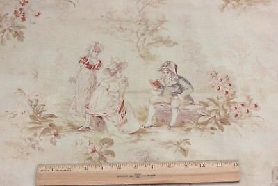 Antique c1890-1900 French Faded Printed Cotton Romantic Toile Fabric Panel*
