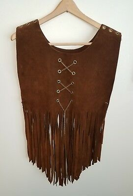 "Vintage Suede Leather Hippy Hippie Vest  Long Fringe Late 1960's ""SWEET"""