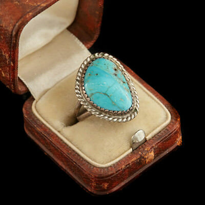Antique Vintage Native Navajo Sterling Silver Kingman Turquoise Rope Ring S 4.25