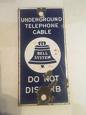 Vintage Bell System Underground Telephone Cable DO NOT DISTURB Porcelain Sign