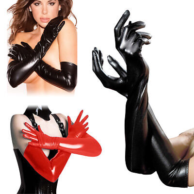 Women Lady Opera Evening Party Faux Leather Wet Look Elbow Long Arm Wrist Gloves