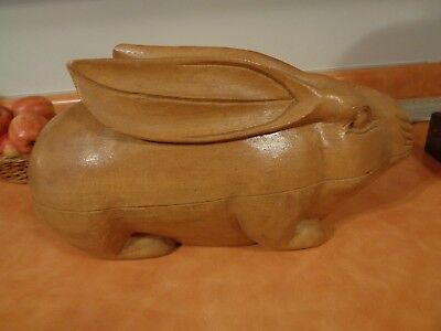 """Vintage large  wooden Rabbit shaped storage container bowl box 17"""""""