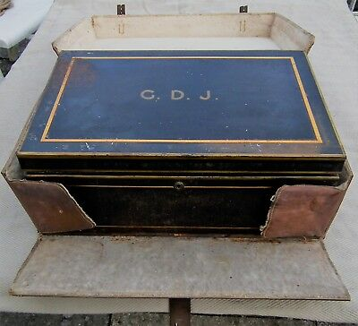 Antique Vintage John Pound & Co Writing Document Deed Box In Leather Case + Key