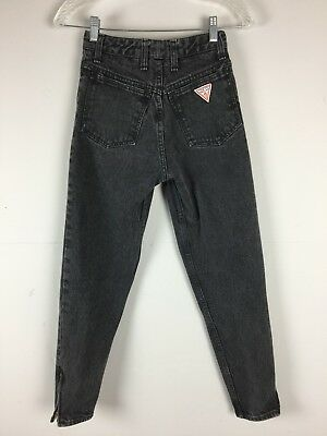 Vtg 80s 90s Guess ZIPPER ANKLE High Waist Jeans Faded Black Gray 25x27 Tapered S