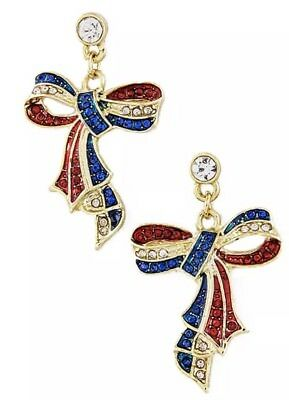 Patriotic 4Th Of July Red White Blue Rhinestone Gold Tone Ribbon Earrings