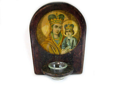 ORIGINAL ANTIQUE Early 1900's. WALL ICON w/ THE LAMPADA JAR!!!