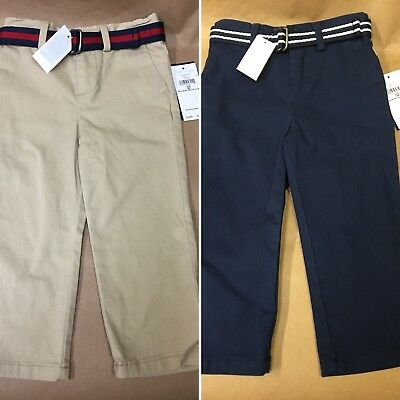 NEW Polo Ralph Lauren Baby Boys Belted Cotton Chino Pants Khaki/Navy 18M/24M/3T