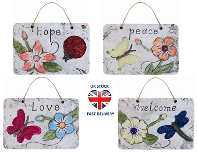 HANGING GARDEN HOME PLAQUE SET - BUTTERFLY FLOWERS Welcome Love Peace Hope