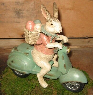 Easter BUNNY RABBIT SCULPTURE w/Egg Basket*Primitive/French Country Farmhouse