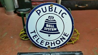 old vintage BELL SYSTEM PUBLIC TELEPHONE porcelain metal sign phone booth Dr.Who