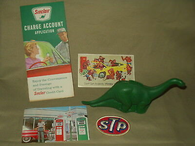 Old Sinclair Dinosaur Bank  Gas Station Post Card  Credit Card  STP Patch & More