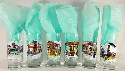 Vintage GULF GAS Collector Series Limited Edition Kitchen Glasses Tumblers