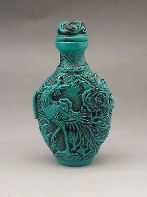 Old Chinese Turquoise Hand Carved Rabbit&Phoenix Snuff Bottle a3030