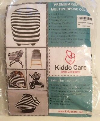 Baby Nursing Car Seat High Chair Grocery Cart Cover Canopy Scarf Black White NEW