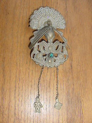 Old Colonial Peru Tupu Blanket Pin Brooch Ethnic Jewelry With Peacock