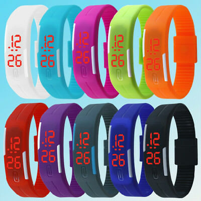 Hot Fashion Digital LED Touch Screen Sports Silicone Bracelet Wrist Watch Gift