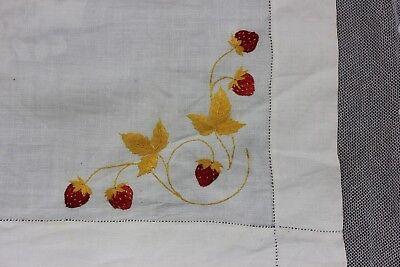 Antique Silk Society Work Hand Embroidered Strawberries On Linen Cloth c1900