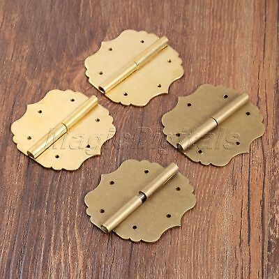 A Pair Vintage Brass Decorative Hinges 43*44mm for Jewelry Wooden Gift Box Door