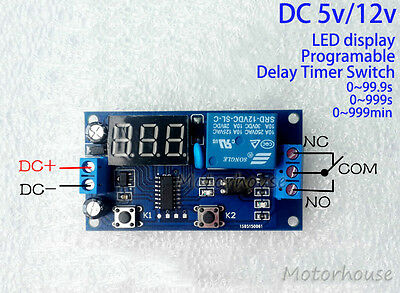 DC5V/12V Adjustable Programable Digital LED Delay Relay Time Timer Switch Module