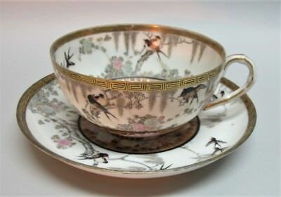 Fine Hand-Painted 19th C. CHINESE EGGSHELL Porcelain Tea Cup w/ Wisteria & Birds