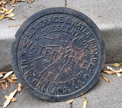 "New Orleans Water Meter Vintage Antique Cast Iron Round 12"" Manhole Cover"