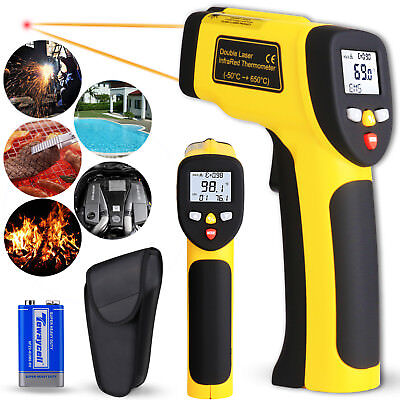 Temperature Gun Non-contact Digital Dual Laser IR Infrared Heat Thermometer Tool