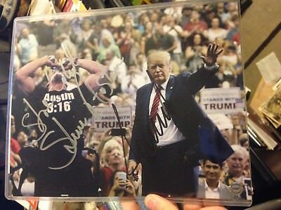 DONALD TRUMP & steve austin Autographed SIGNED photo 8x10 Photo w/ COA