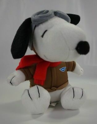 """Metlife Peanuts SNOOPY Red Baron Pilot Plush 6"""" Pre-owned Great Condition"""