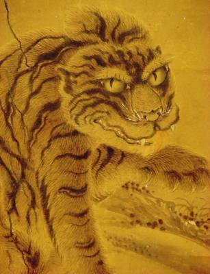 "JAPANESE HANGING SCROLL:: Antique ""Fierce Tiger"""" by Kishi Ganku, c.1780, Edo"