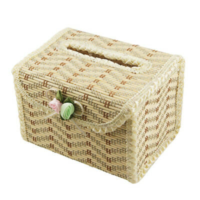 Natural Bamboo Handmade Tissue Box Cover Holder for Vehicle,Lace beige whit B1R7