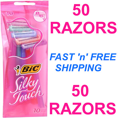 ~Lot_Of_50 ~Bic_Silky_Touch  Ladies'_Razors ~5_Packs_Of_10 _Shavers_Per_Pack~