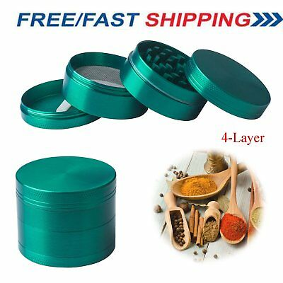4 Piece Zinc Alloy Grinder Tobacco Herb Spice Smoke Hand Chromium Crusher Green