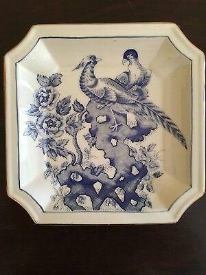 RARE! Blue Transferware Plate Wild Game Birds Gold Edge Numbered