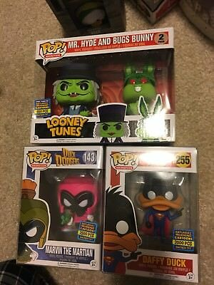 SDCC 2017 Funko Mr. Hyde And Bugs Bunny, Superhero Daffy And Pink Marvin Martian