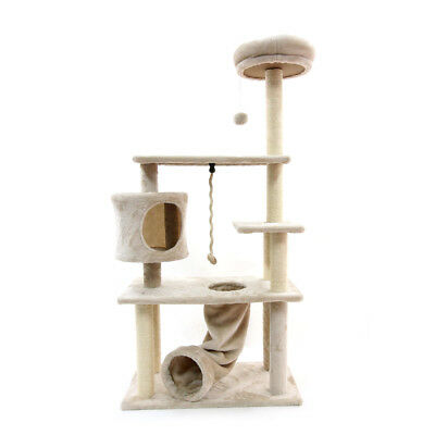 Multi-Level Cat Tree with Kitten House Condo Furniture Scratching Post Beige