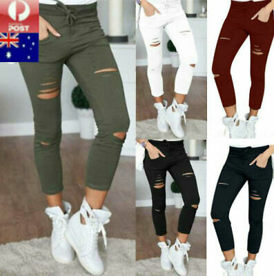 Women Ladies Casual Skinny Pencil Pants Stretch Slim Fit Leggings Jeans Trousers