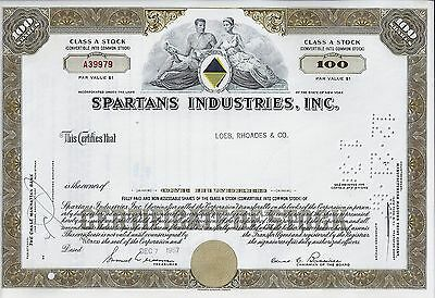 Spartans Industries Inc., New York, 1967 (100 Shares Class A Stock)
