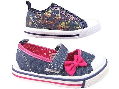 Chatterbox sparkle Girls infant Denim soft close fastening Canvas Pump mary jane