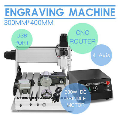 4 Axis 3040 Usb Cnc Router Engraver Engraving Cutter T-Screw Desktop Cutting