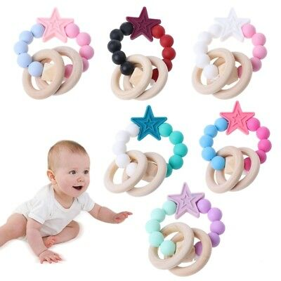 Baby Teether Bracelet Silicone Natural Wooden Rings Nursing Chew Beads Teething