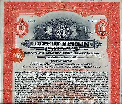 6 1/2% City of Berlin - State of Prussia Gold Bond 1925 (1.000 $) + Coupons